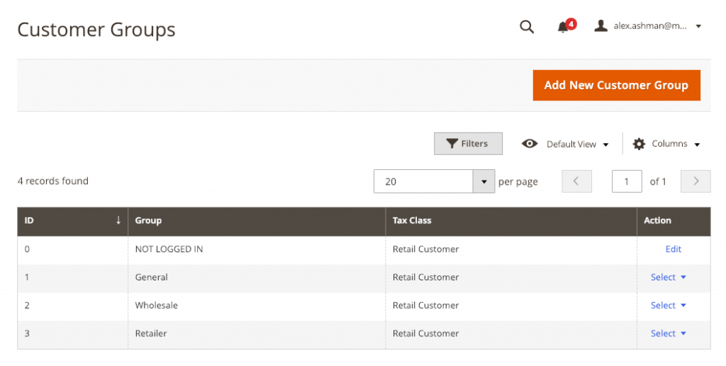 Customer Groups in Magento 2