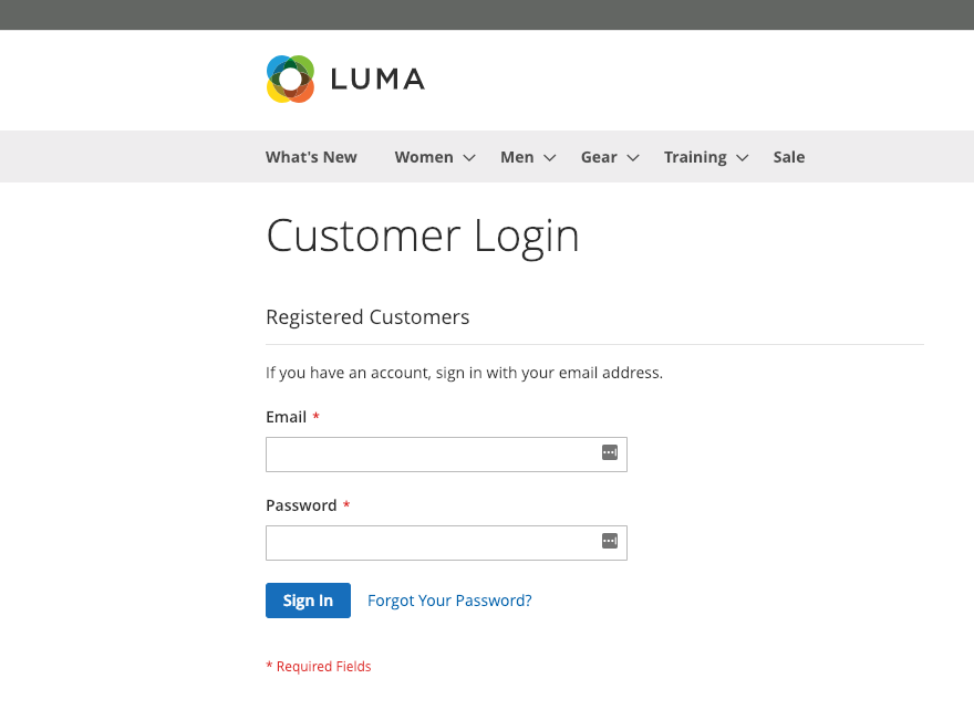 Customer login screen on Magento 2