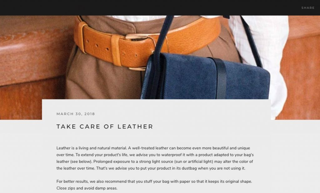 Shopify Blog Expertise leather bag and belt sample store